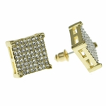 Square Earrings Gold Tone 14MM