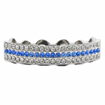 Blue Silver 3 Row Top Grillz