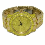 Canary Yellow Iced Mens Watch