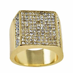 Square Side Pave Gold Tone Ring