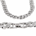 """30"""" Iced-Out Silver Cuban Chain"""