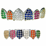 CZ Clown Silver Tone Grillz Set
