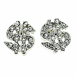 Dollar Sign Silver Tone Earrings