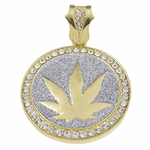 Weed Glitter Gold Pendant
