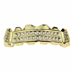 Gold 2-Row Side Bling Top Grillz