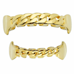 Gold Cuban Plain Fangs Set