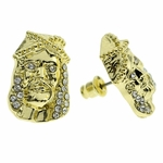 Huge Jesus Gold Finish Earrings