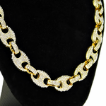 Gold Mariner Iced-Out Chain 24""