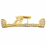 Gold Pistol Iced-Out Top Grillz
