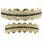 Black Gold 3-Row Grillz Set