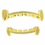 Gold Slim CZ Half Fangs Set