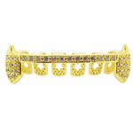 Gold Slim CZ Lower Half Fangs