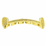 Gold Slim CZ Top Half Fangs