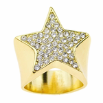 Gold Star Iced Out Ring