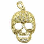 Gold Sugar Skull Iced-Out Pendant