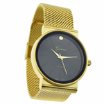 Gold & Black Flat Band Watch