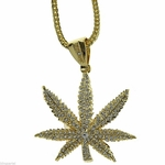 "Weed Leaf Gold Finish 36"" Chain"