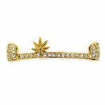 Gold Weed Iced-Out Top Grillz