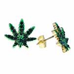 Green Weed Leaf Gold Tone Earrings