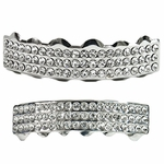 Silver Three Row Grillz Set