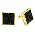 Square Black 16MM Earrings