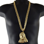 "Big Jesus Bust 33"" Cuban Chain"