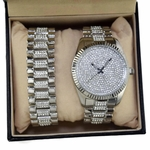 Silver Iced-Out Watch & Bracelet