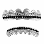 Black Silver 2-Row Grillz Set