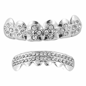 Silver Crosses Grillz Set