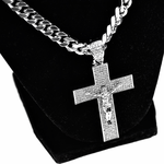 "Crucifix Silver 30"" Cuban Chain"