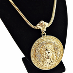 "Jesus Medal Gold 36"" Franco Chain"
