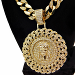 Cuban Jesus Medallion Chain 30""
