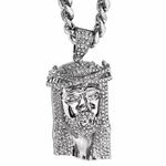 "Thorn Jesus Silver 30"" Cuban Chain"