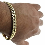 9 Inch Gold Curb Bracelet 9MM