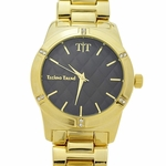 Modern Men's Black & Gold Watch