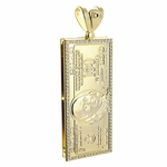 100 Dollar 14k Gold Plated Pendant