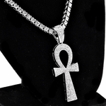 """One-Row Silver 24"""" Ankh Chain"""