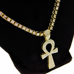 """One-Row Gold 24"""" Ankh Chain"""