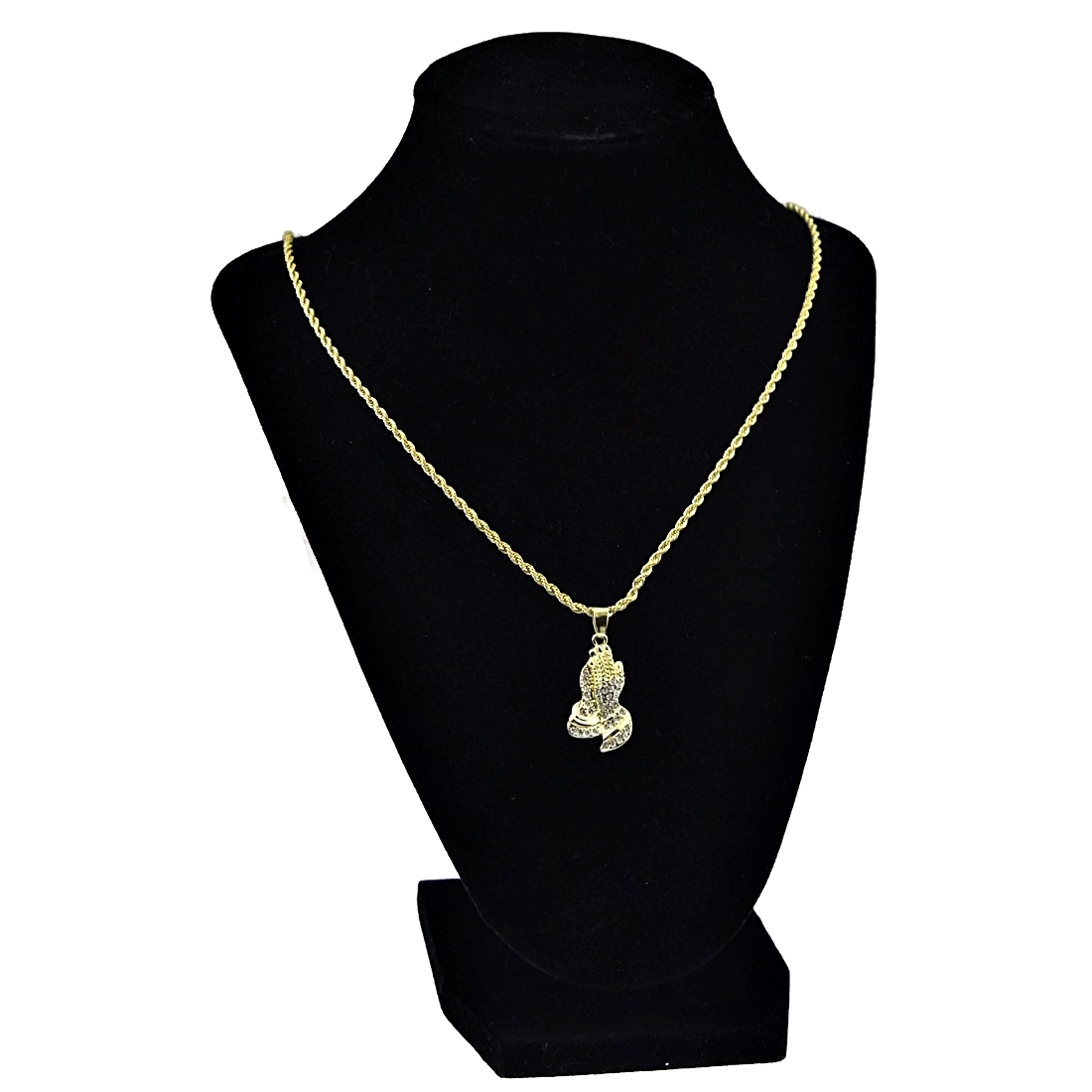 Pray Hands Gold Rope Chain 24\