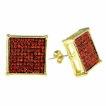 Square Red 16MM Earrings