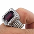 Faux Ruby Silver Iced-Out Ring