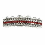 Red Silver 3 Row Top Grillz