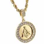 "Masonic Pendant 24"" Rope Chain"