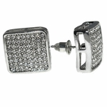 Round Square Silver Earrings