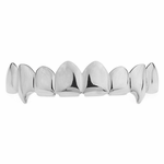 Silver 8 Tooth Top Fang Grillz