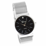 Silver & Black Flat Band Watch