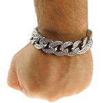 Silver Iced-Out Bracelet 18MM x 8.5""