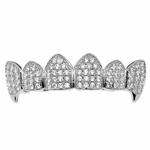 CZ Silver Fangs Top Grillz