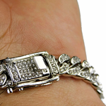 Silver Iced-Out Bracelet 8mm x 8""