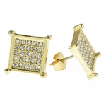 Square Gold Tone Earrings 13MM